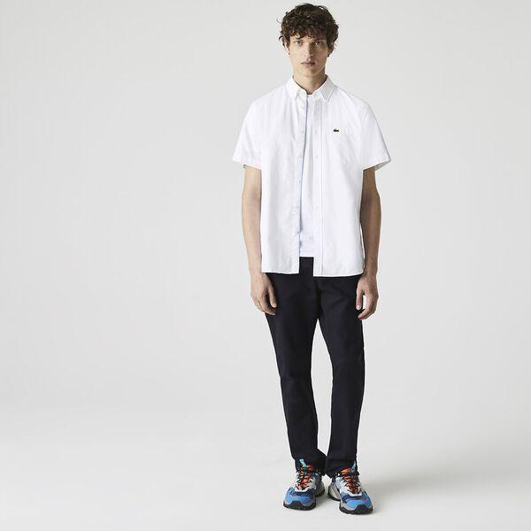 Men's Classic Short Sleeve Reg Fit Oxford Shirt, WHITE, hi-res