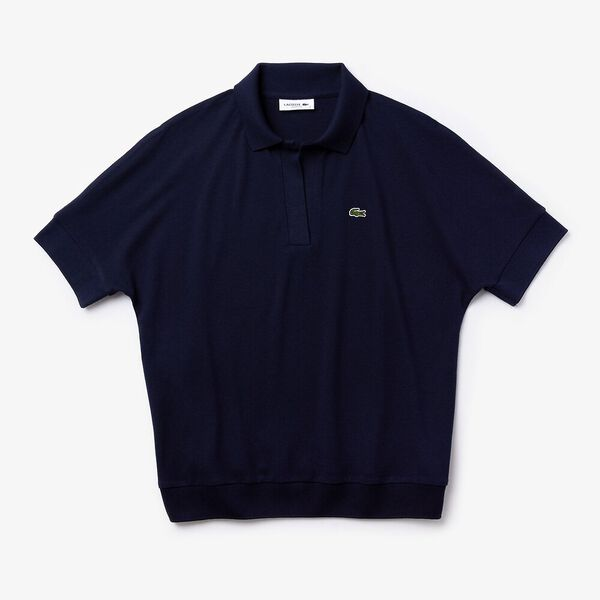 Women's Lacoste Flowy Piqué Polo Shirt, NAVY BLUE, hi-res