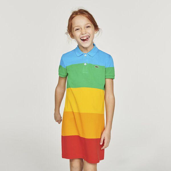 Girls' Lacoste x Polaroid Color Striped Cotton Polo Dress