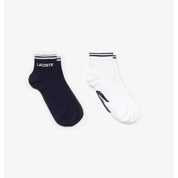 UNISEX TWIN PACK ANKLE SOCKS, NAVY BLUE/WHITE, hi-res