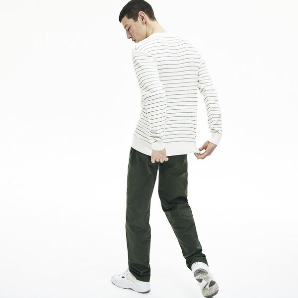 Men's Striped Textured Cotton Sweater, FARINE/NOIR, hi-res