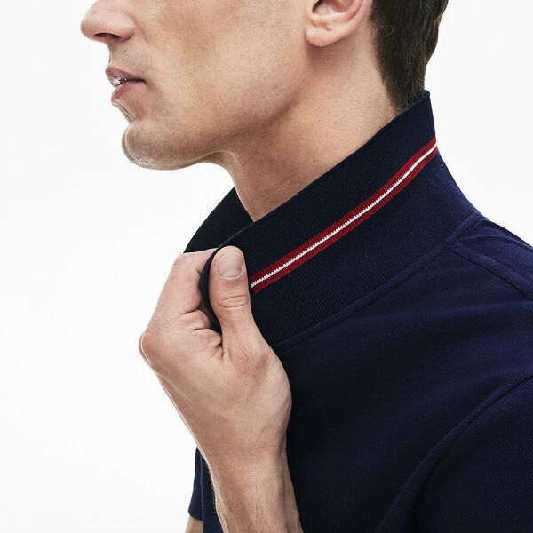 Men's Classic Slim Fit Tipped Collar Polo, NAVY BLUE, hi-res