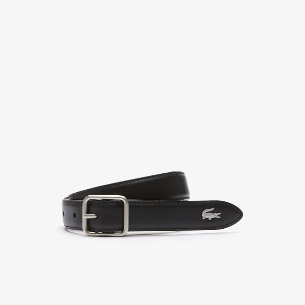 Women's Fine Reversible Smooth And Grained Leather Belt, BLACK WARM SAND, hi-res