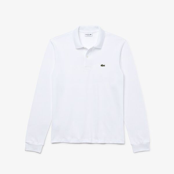 MEN'S CLASSIC FIT LONG-SLEEVE POLO, WHITE, hi-res