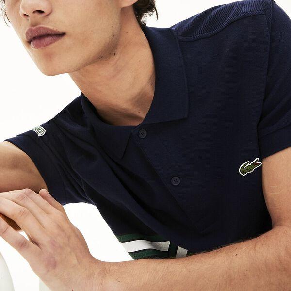 Men's Stripe Print Polo Shirt, MARINE, hi-res