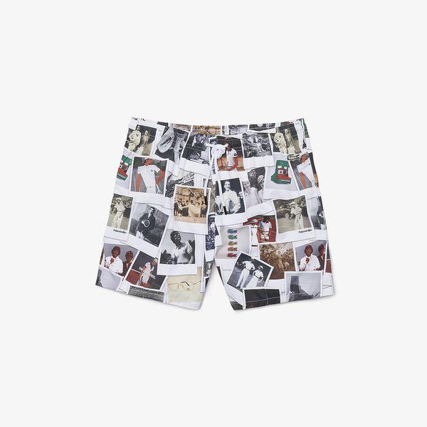 Unisex Lacoste LIVE x Polaroid Print Swimming Trunks, MULTICO/WHITE, hi-res