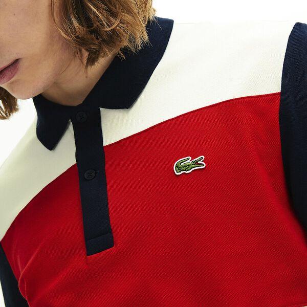 Men's Stretch Colourblock Polo Shirt, FARINE/ROUGE-MARINE, hi-res