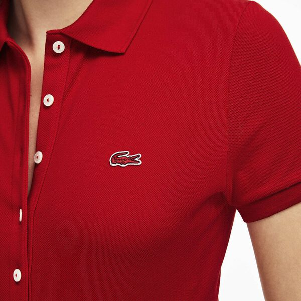 Women's 5 Button Slim Stretch Core Polo, RED, hi-res
