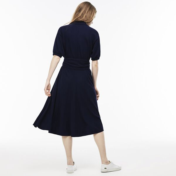 WOMEN'S PIQUE DRESS WITH BELT, FLOUR/NAVY BLUE, hi-res