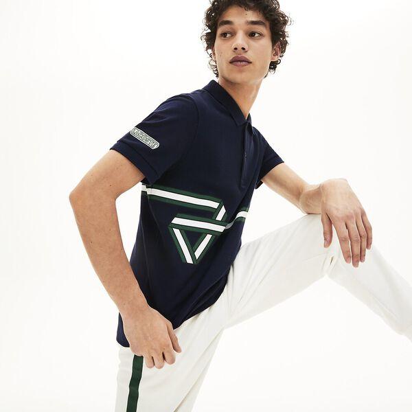Men's Lacoste Stripe Print Polo Shirt