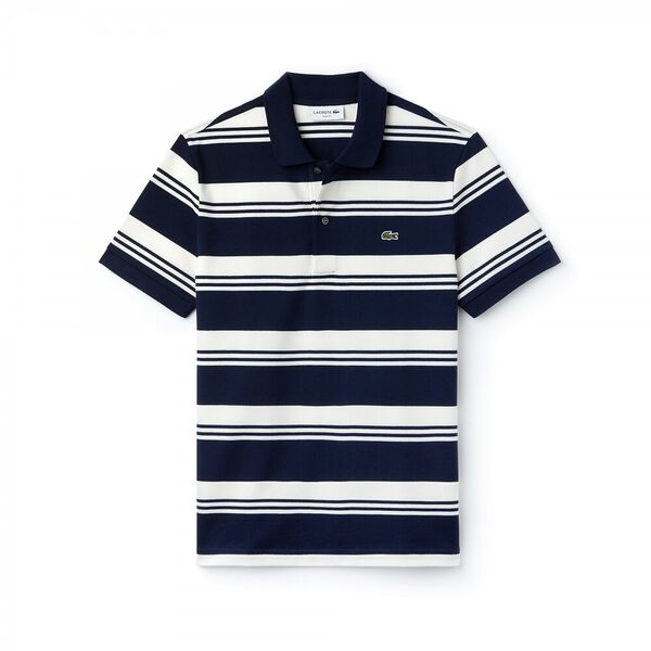 MEN'S SLIM STRETCH STRIPE POLO, NAVY BLUE/FLOUR, hi-res