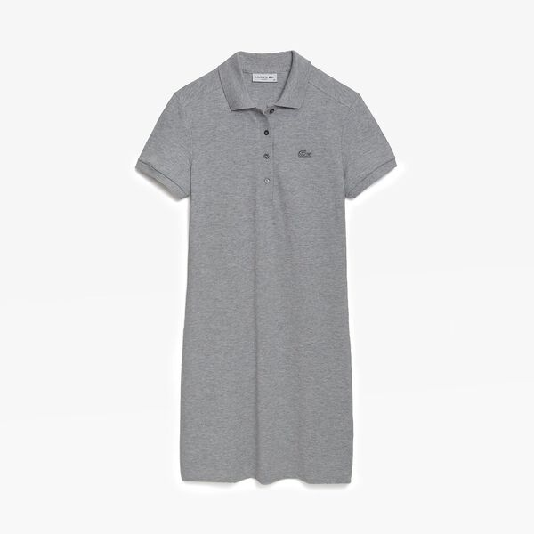 Women's Stretch Cotton Piqué Polo Dress, SILVER CHINE, hi-res