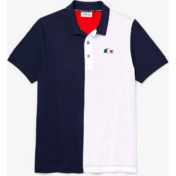 Men's SPORT French Sporting Spirit Two-Tone Polo, NAVY BLUE/WHITE-RED, hi-res
