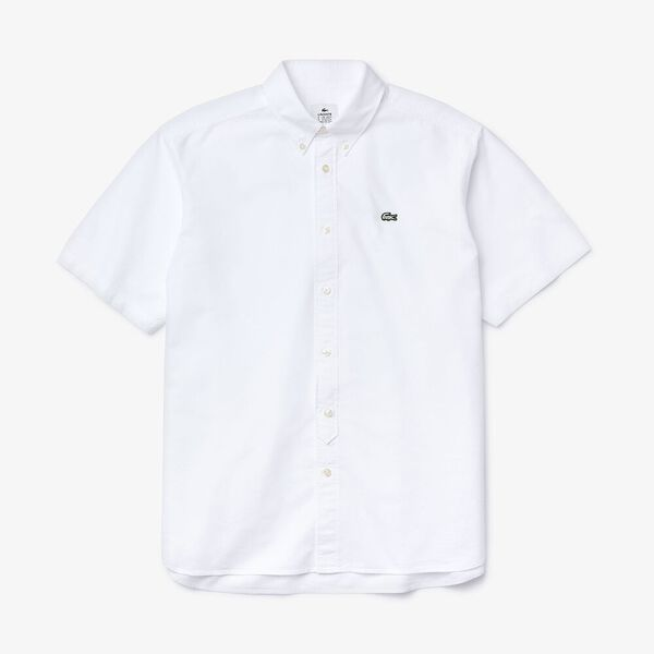 Men's L!ve Classic Short Sleeve Oxford Shirt, BLANC/FARINE, hi-res
