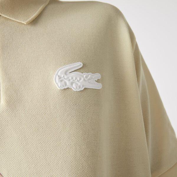 Unisex LIVE Loose Fit Colorblock Cotton Piqué Polo, NATUREL CLAIR/NIDUS, hi-res