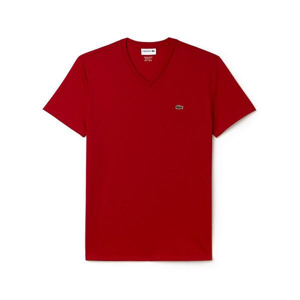 Men's Basic V Neck Pima Tee, RED, hi-res