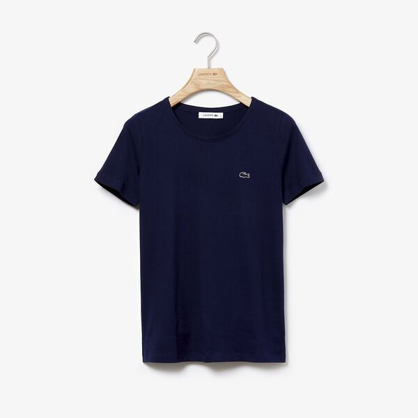 Women's Crew Neck Solid Tee, NAVY BLUE, hi-res