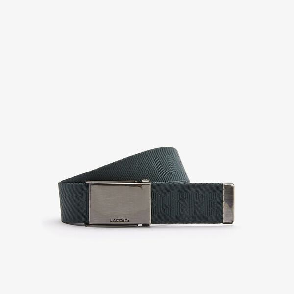 Men's Engraved Plate Buckle Woven Belt