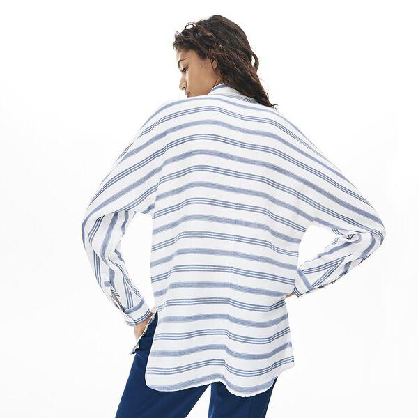 Women's Clean Stripes Long Sleeve Fluid Shirt, FLOUR/NAVY BLUE-KING, hi-res