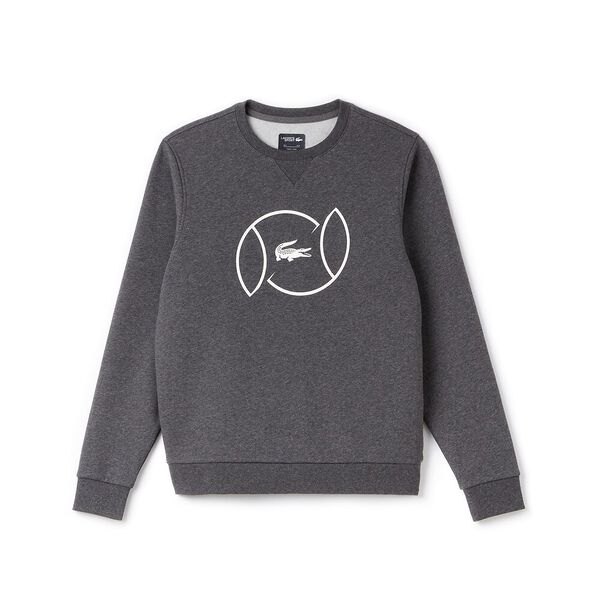 MEN'S TENNIS BALL CREW NECK SWEATSHIRT, PITCH/WHITE, hi-res