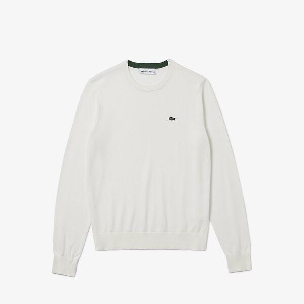 Women's Solid Cotton Crew Neck Sweater, FARINE, hi-res