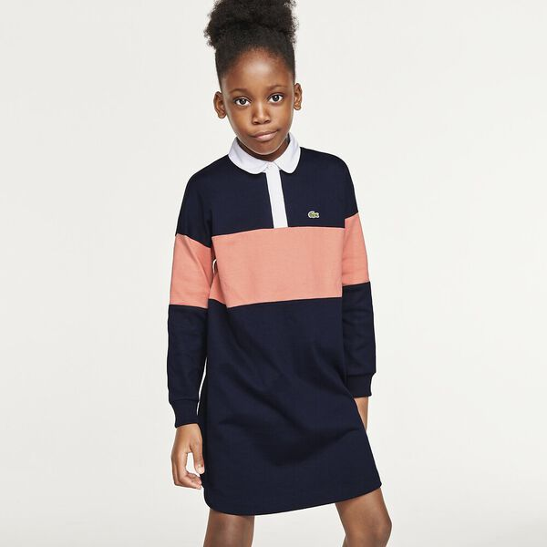 Girls' Loose Fit Colorblock Thick Cotton Polo Dress