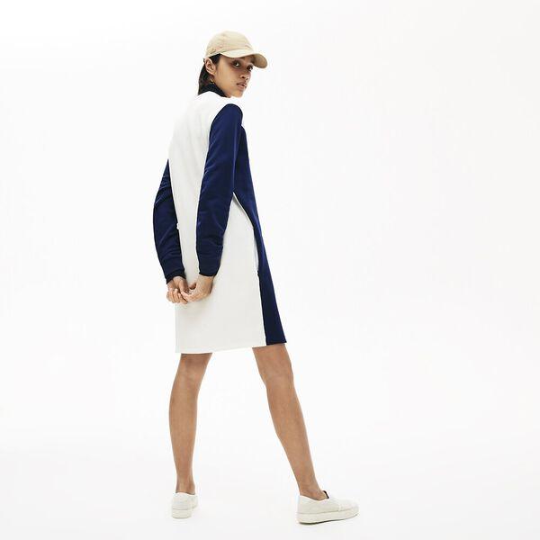 Women's Colourblock Fleece Sweatshirt Dress, METHYLENE/PROVENCAL-FARINE, hi-res