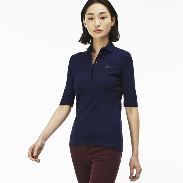 WOMEN'S 3/4 SLEEVE SLIM STRETCH POLO, NAVY BLUE, hi-res
