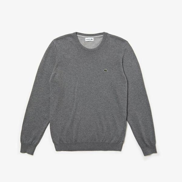 Men's Classic Cotton Crew Neck Knit, GALAXITE CHINE/FLOUR-STONE, hi-res