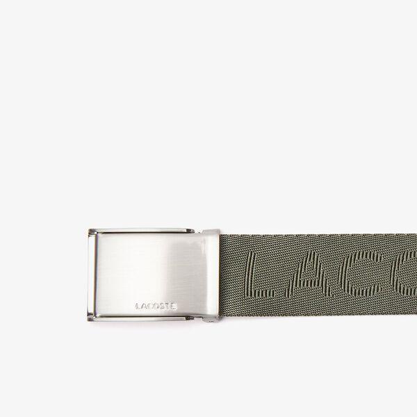 Men's Lacoste Embossed Woven Belt, THYME, hi-res