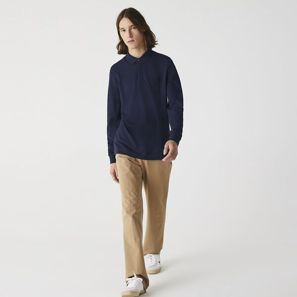 Men's Long-sleeve Paris Polo, MARINE, hi-res