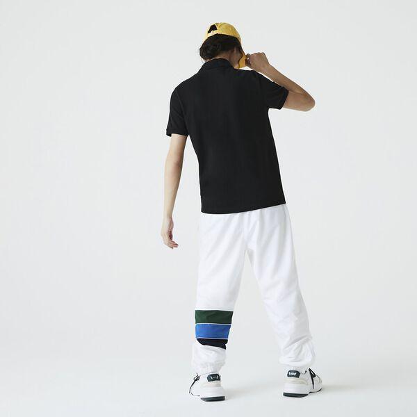 Men's Jacquard Signature Collar Stretch Cotton Polo, BLACK, hi-res