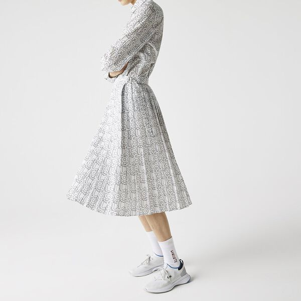 Women's Patterned Flowy Mid-Length Pleated Skirt