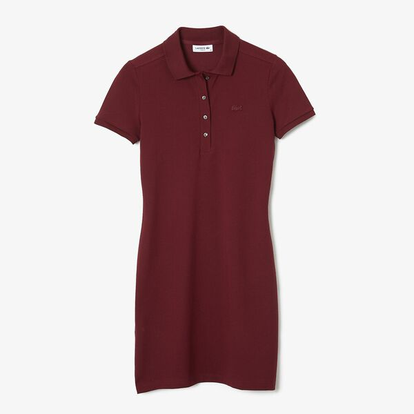 Women's Stretch Cotton Polo Dress, PINOT, hi-res