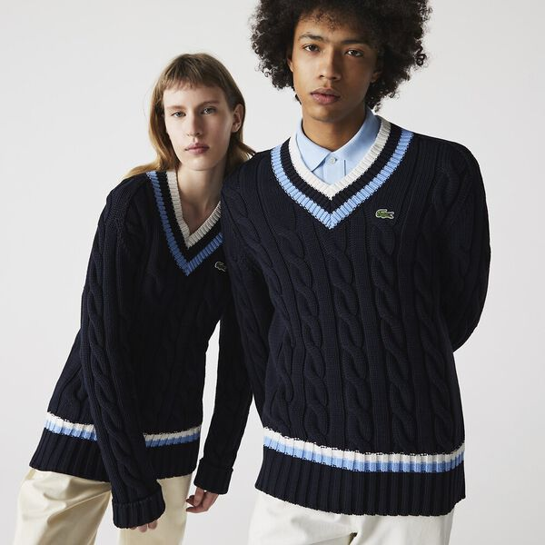 Unisex V-neck Striped Finishes Cable Knit Sweater, ABYSM/NATTIER BLUE, hi-res