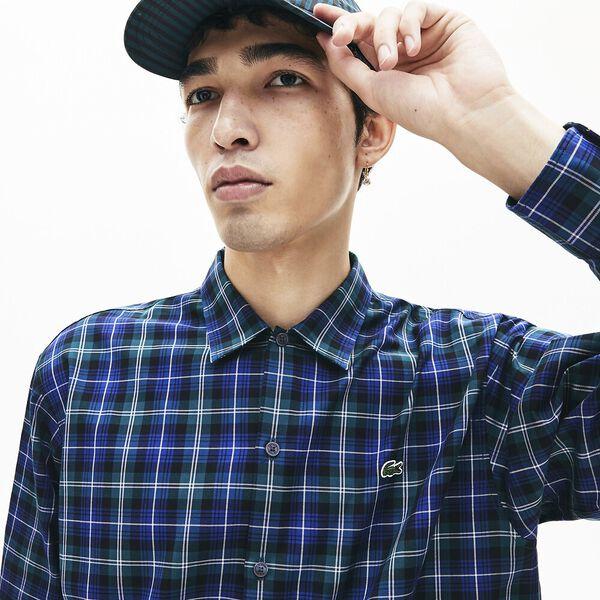 Men's Lacoste LIVE Boxy Fit Light Flannel Shirt, METHYLENE/MULTICO, hi-res