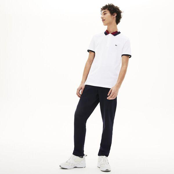 Men's Contrast Cotton Polo Shirt, BLANC/MARINE-FARINE-BORDEAUX, hi-res