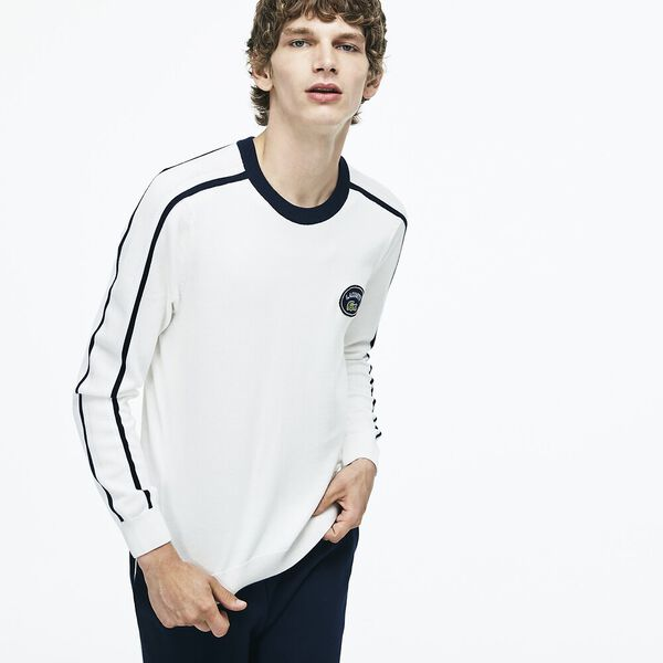 MEN'S RETRO KNIT WITH BADGE, FLOUR/NAVY BLUE/WHITE/NAV, hi-res