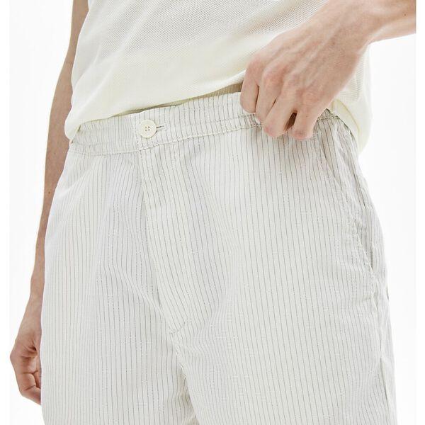 Men's Fine Striped Cotton And Linen Blend Bermudas, FARINE/GRAPHITE SOMBRE, hi-res