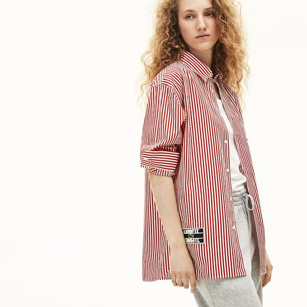 Unisex Lacoste LIVE Boxy Fit Striped Cotton Shirt, FARINE/ROUGE, hi-res