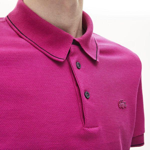 Men's Lacoste Cotton-Silk Piqué Polo Shirt, GALA/BLACK, hi-res