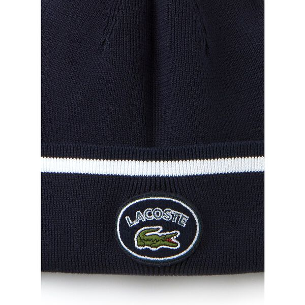Men's Badge Logo Beanie, NAVY BLUE/WHITE, hi-res