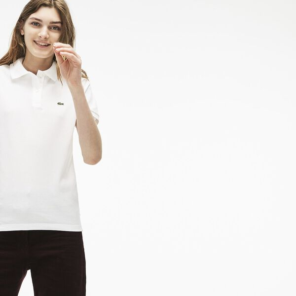 Women's 2 Button Relaxed Fit Polo, WHITE, hi-res