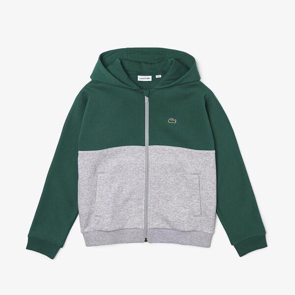 Boys' Hooded Colorblock Print Fleece Zip Sweatshirt