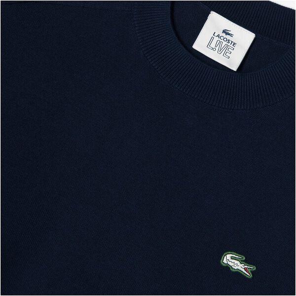 Men's LIVE Crew Neck Cotton Sweater, MARINE, hi-res