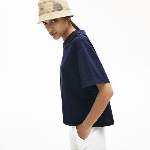 Women's Lacoste LIVE Boxy Fit Zip Collar Stretch Piqué Polo Shirt, MARINE, hi-res