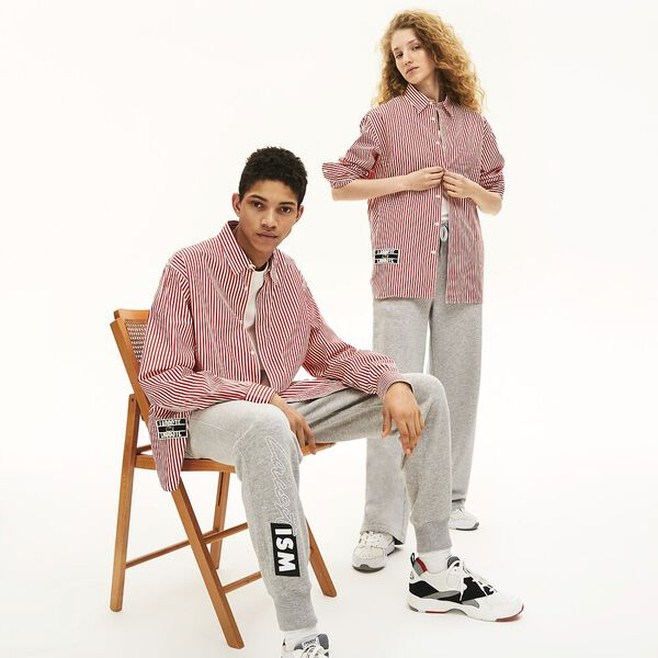 Men's L!ve Transit Stripe Long Sleeve Shirt, FARINE/ROUGE, hi-res