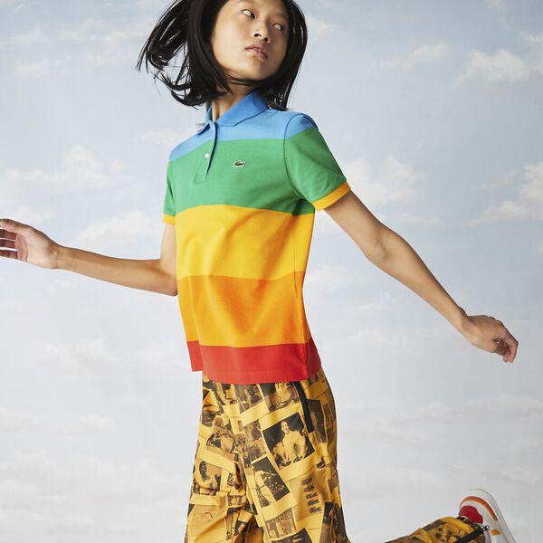 Women's Lacoste x Polaroid Color Striped Cotton Piqué Polo, CORRIDA/ORPIMENT GYPSUM, hi-res