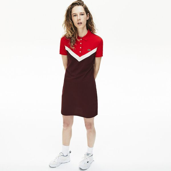 Women's Color-Blocked Stretch Cotton Polo Dress