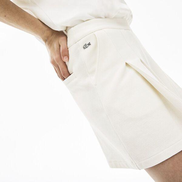 Women's Lacoste LIVE Cotton Piqué Pleated Shorts, FARINE, hi-res